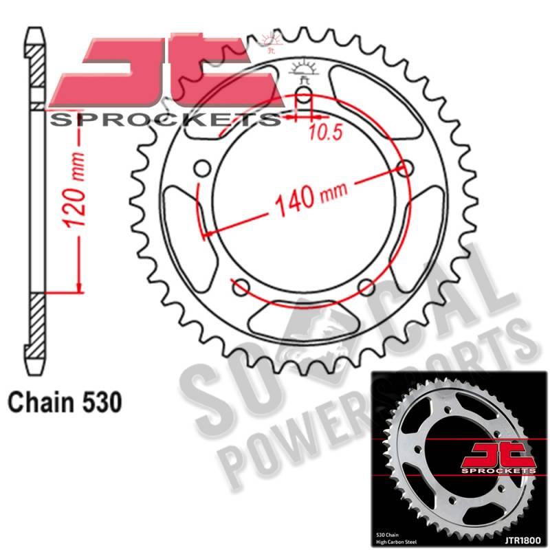 JT 46 Tooth Steel Rear Sprocket 530 Pitch JTR1800.46