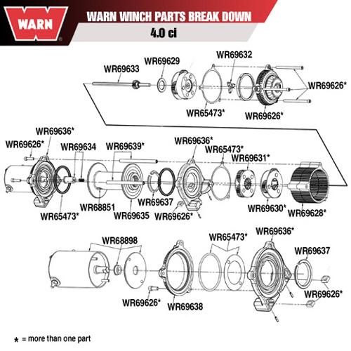 warn atv winch parts diagram warn winch motor kit 4 0ci 68898  warn winch motor kit 4 0ci 68898