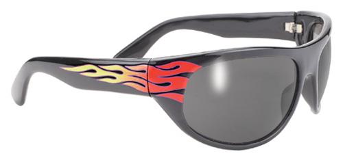 PACIFIC COAST - Pacific Coast Wrap Sunglasses - Black Flame Frame / Smoke Lens - 307